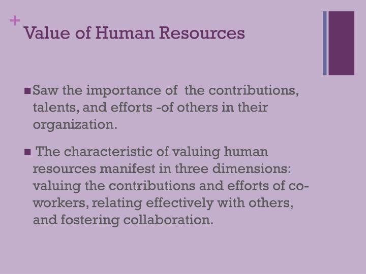 Value of Human Resources