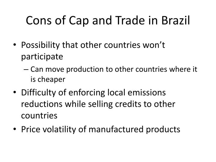 Cons of Cap and Trade in Brazil
