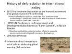 history of deforestation in international policy