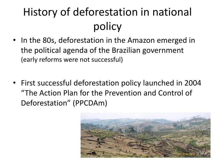 History of deforestation in national policy