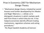 prize in economics 2007 for mechanism design theory