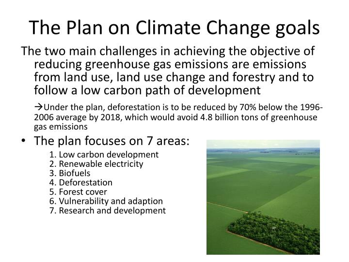 The Plan on Climate Change goals
