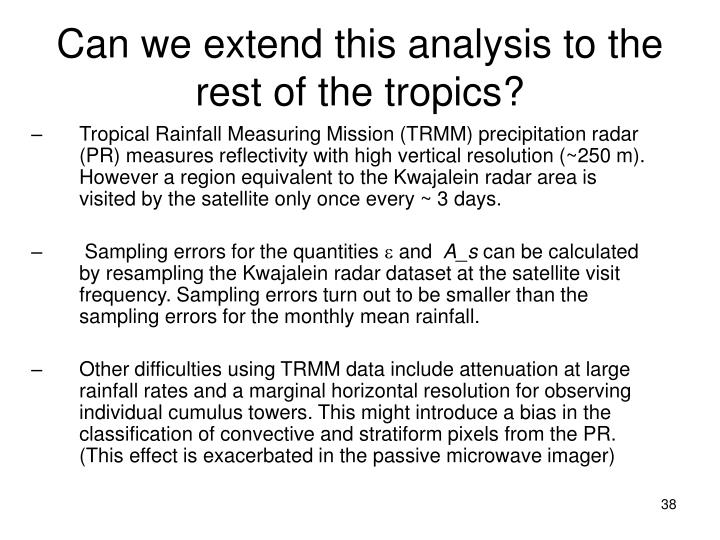 Can we extend this analysis to the rest of the tropics
