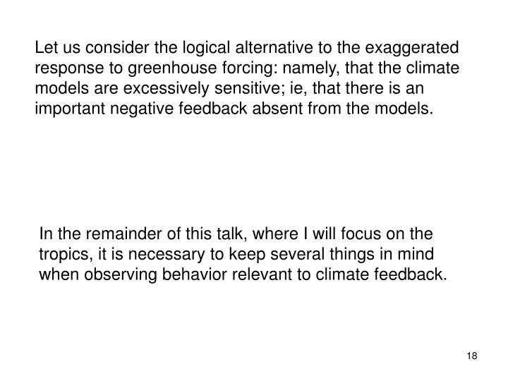 Let us consider the logical alternative to the exaggerated response to greenhouse forcing: namely, that the climate models are excessively sensitive; ie, that there is an important negative feedback absent from the models.