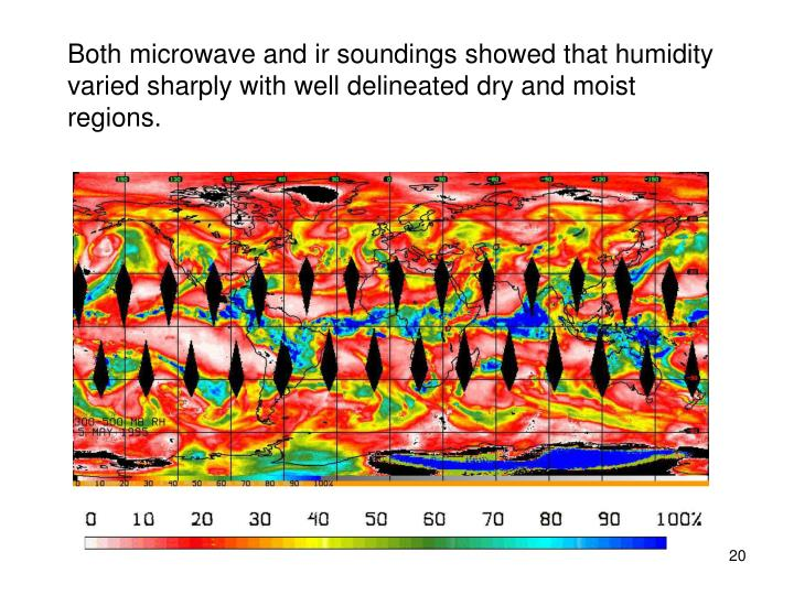 Both microwave and ir soundings showed that humidity varied sharply with well delineated dry and moist regions.