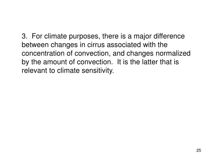 3.  For climate purposes, there is a major difference between changes in cirrus associated with the concentration of convection, and changes normalized by the amount of convection.  It is the latter that is relevant to climate sensitivity.