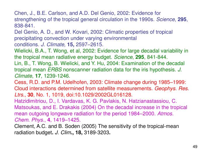 Chen, J., B.E. Carlson, and A.D. Del Genio, 2002: Evidence for strengthening of the tropical general circulation in the 1990s.