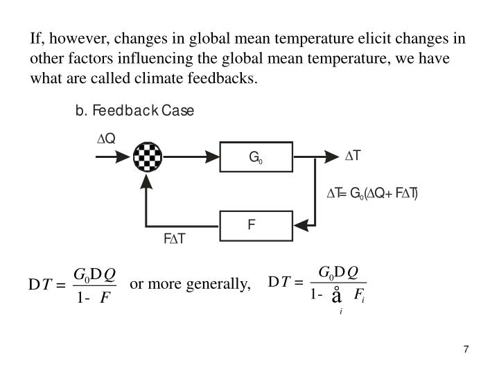 If, however, changes in global mean temperature elicit changes in other factors influencing the global mean temperature, we have what are called climate feedbacks.
