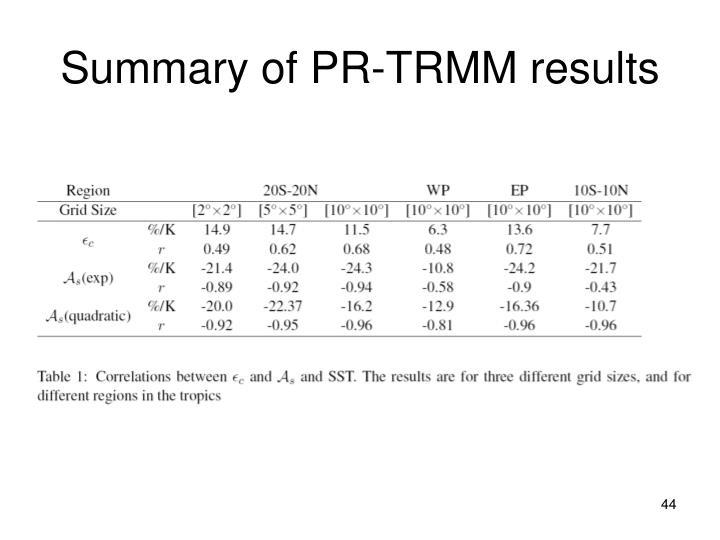 Summary of PR-TRMM results