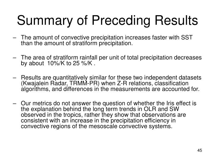 Summary of Preceding Results