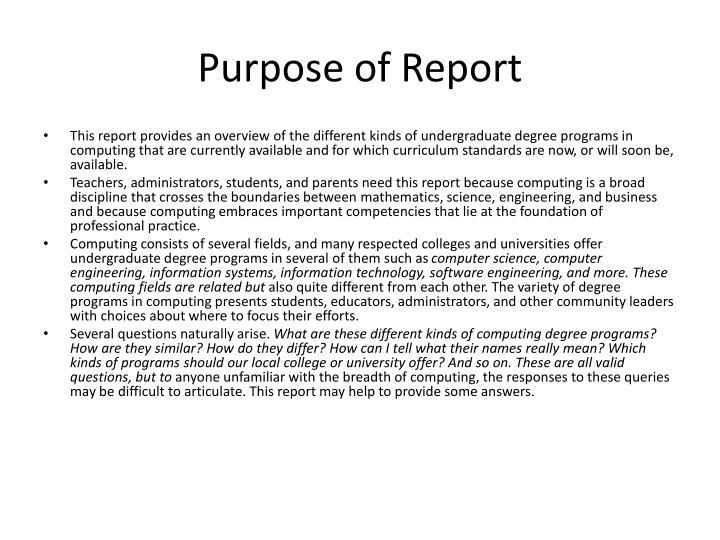 Purpose of Report