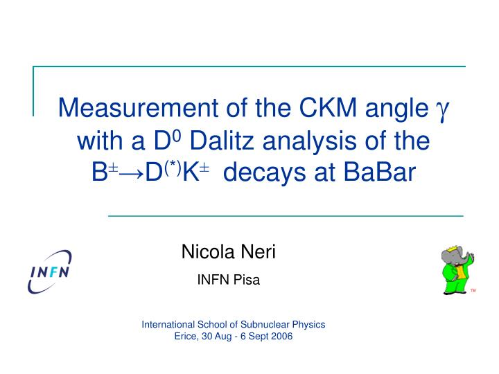 Measurement of the ckm angle g with a d 0 dalitz analysis of the b d k decays at babar