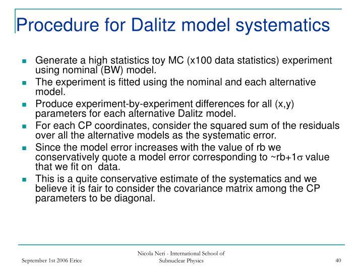 Procedure for Dalitz model systematics