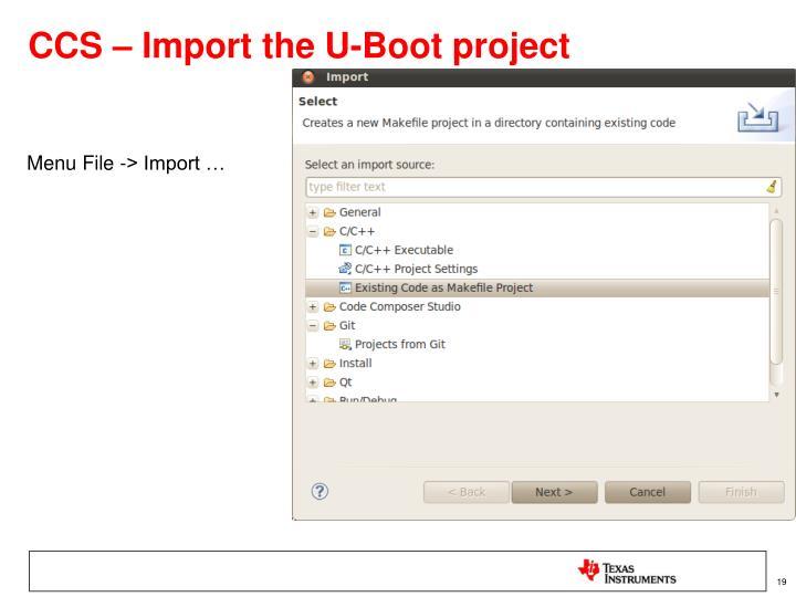 CCS – Import the U-Boot project