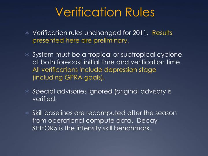 Verification rules