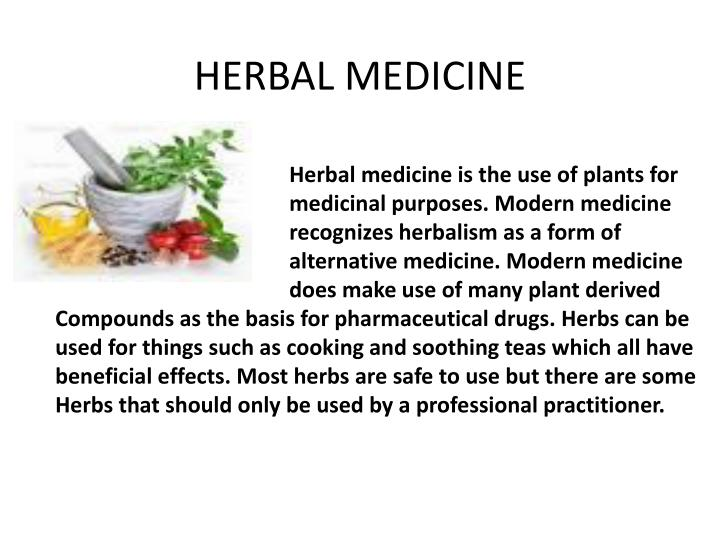 report on herbal medicine The uk department of health just released a report entitled advice on regulating herbal medicines and practitioners for the purpose of advising the government on the regulation of herbal practice.