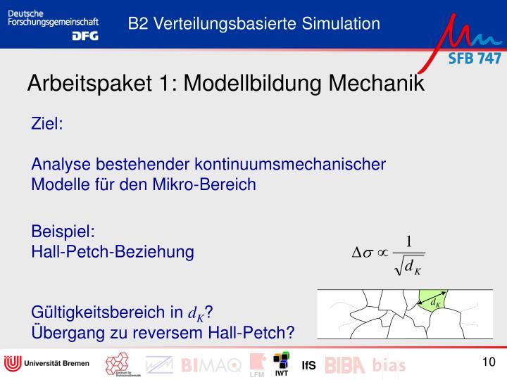 Arbeitspaket 1: Modellbildung Mechanik