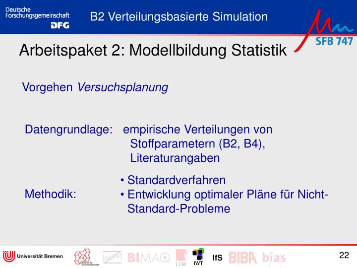 Arbeitspaket 2: Modellbildung Statistik