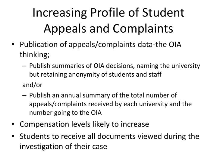 Increasing Profile of Student Appeals and Complaints