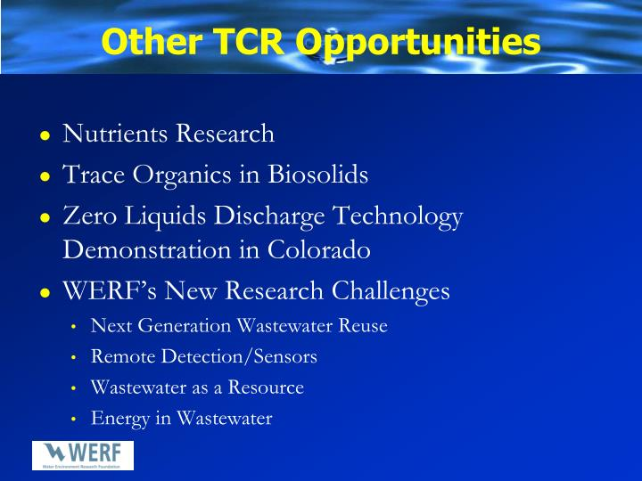 Other TCR Opportunities
