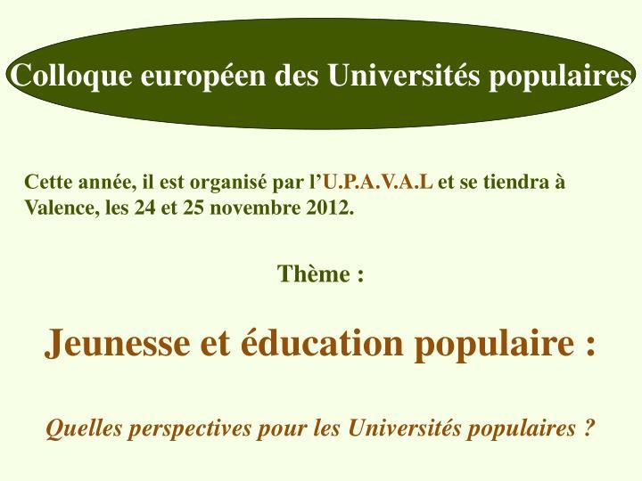 Colloque européen des Universités populaires