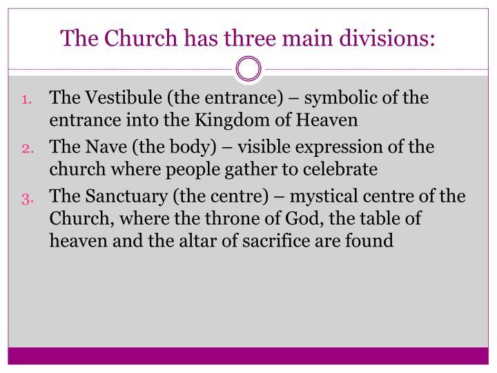 The Church has three main divisions: