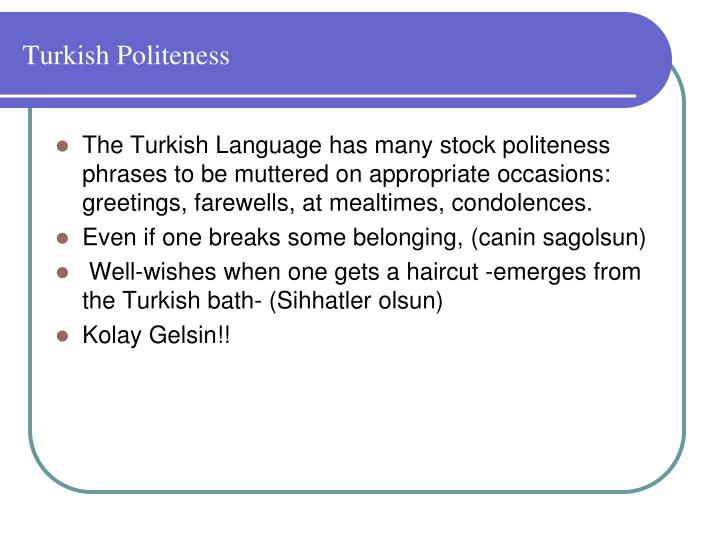 Turkish Politeness