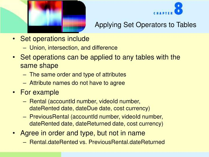 Applying Set Operators to Tables
