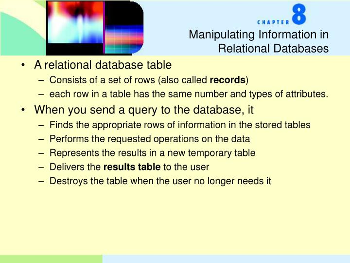 Manipulating information in relational databases
