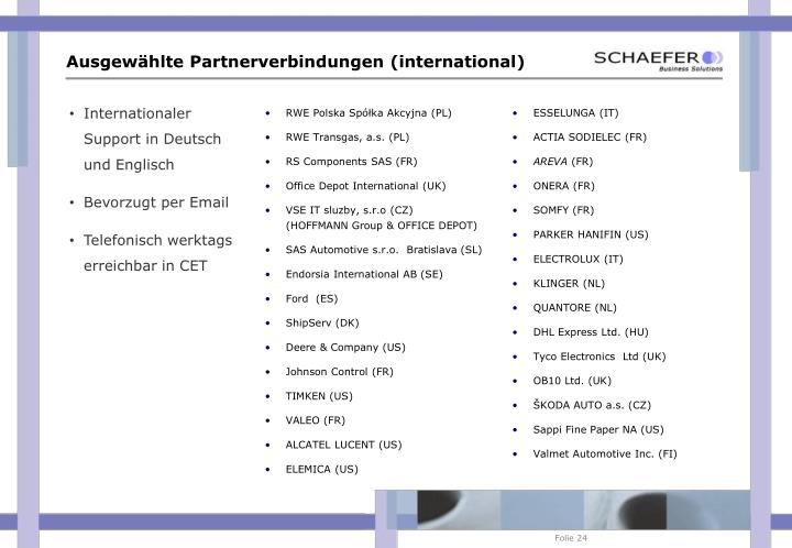 Ausgewählte Partnerverbindungen (international)