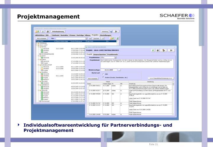 Individualsoftwareentwicklung für Partnerverbindungs- und Projektmanagement