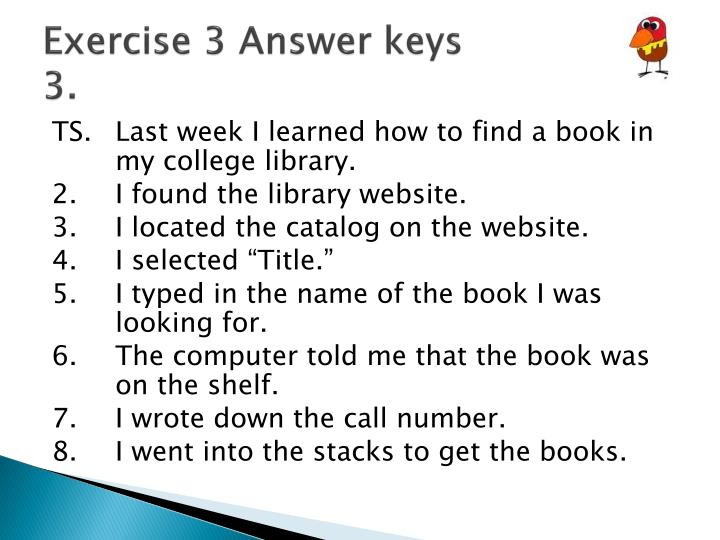 Exercise 3 Answer keys