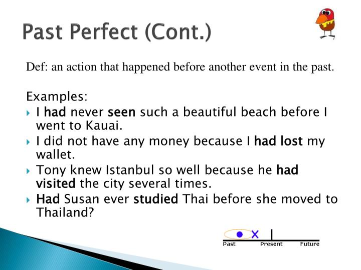 Past Perfect (Cont.)