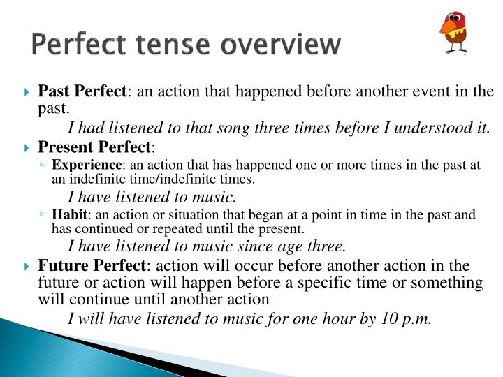 Perfect tense overview