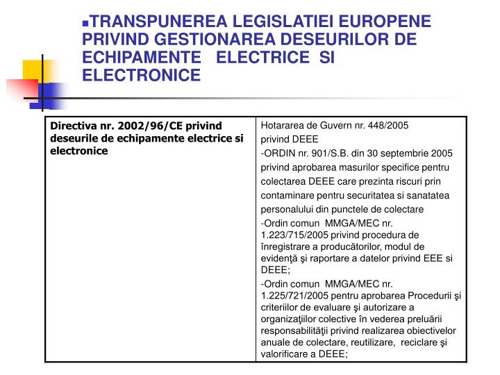 TRANSPUNEREA LEGISLATIEI EUROPENE PRIVIND GESTIONAREA DESEURILOR DE  ECHIPAMENTE   ELECTRICE  SI  ELECTRONICE