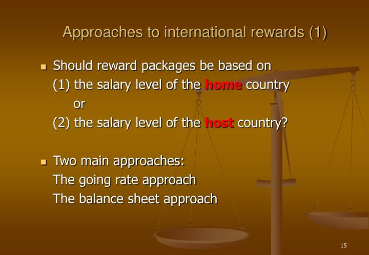 Approaches to international rewards (1)