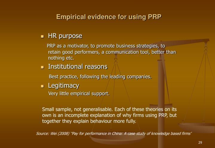 Empirical evidence for using PRP