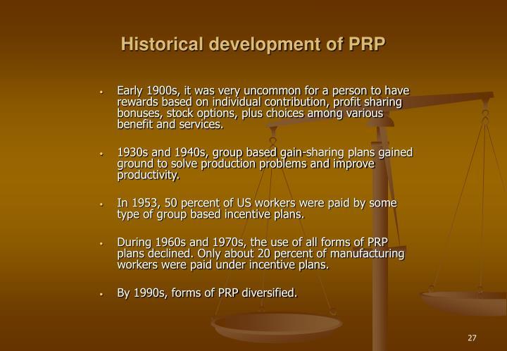 Historical development of PRP