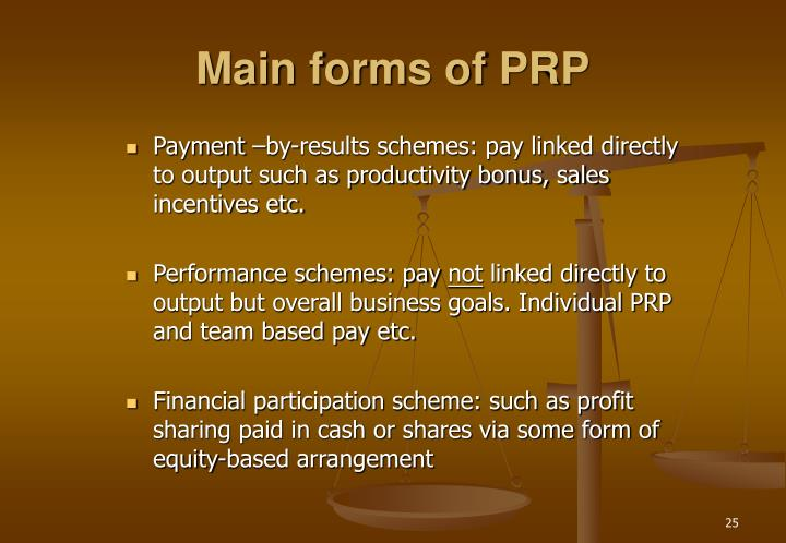 Main forms of PRP