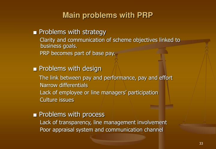 Main problems with PRP