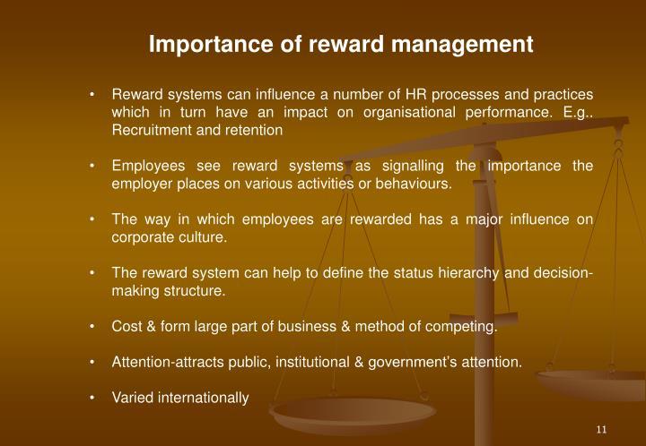 Importance of reward management