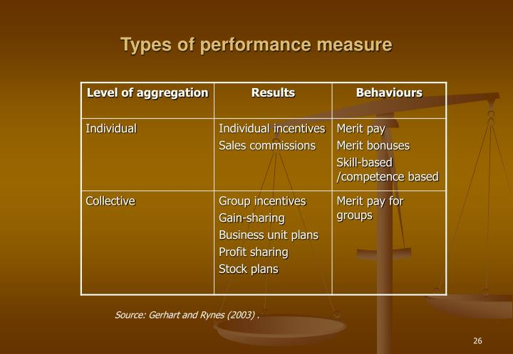 Types of performance measure