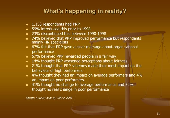 What's happening in reality?