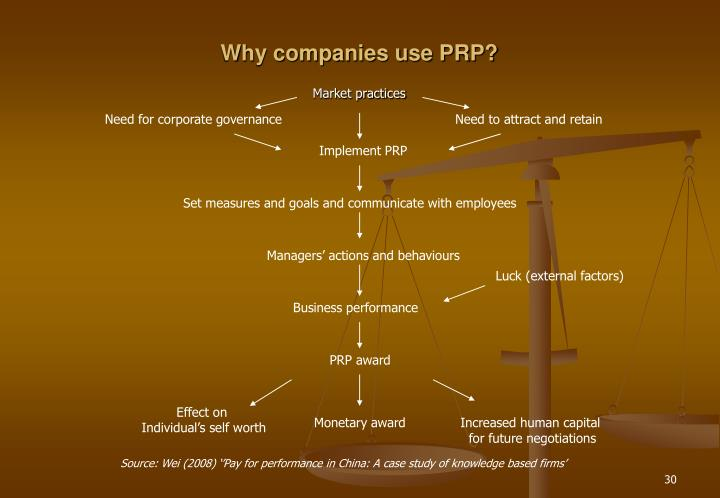 Why companies use PRP?