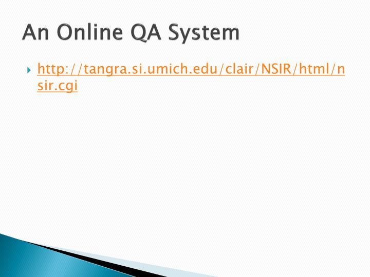 An Online QA System