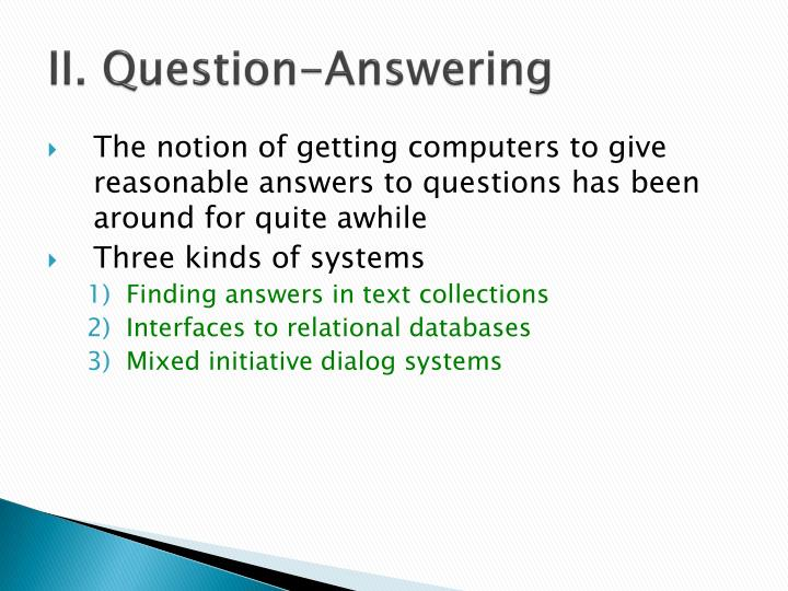 II. Question-Answering