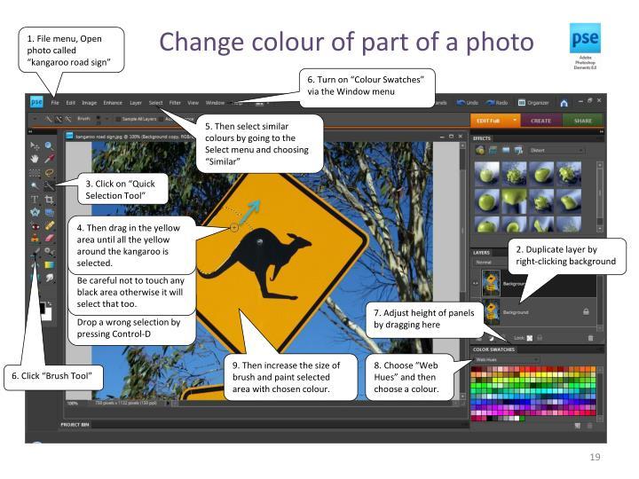 Change colour of part of a photo