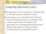 lingering questions cont
