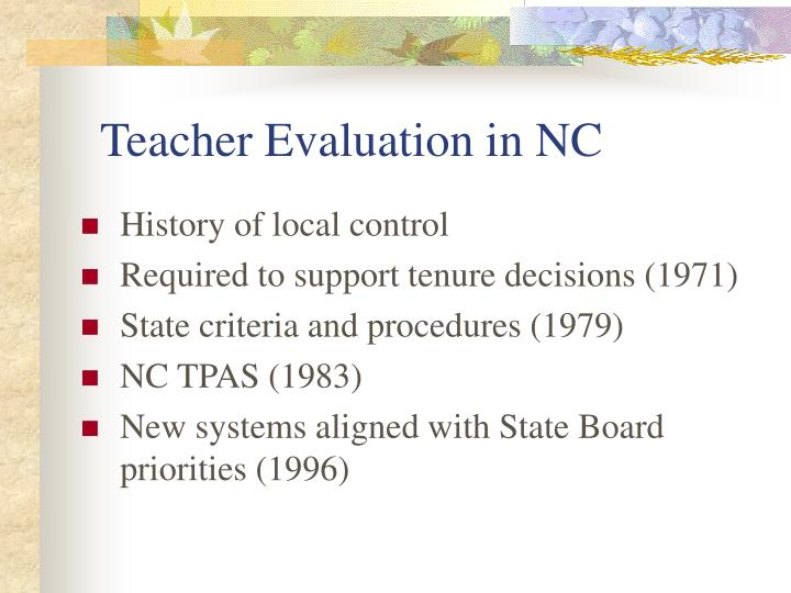 Teacher Evaluation in NC