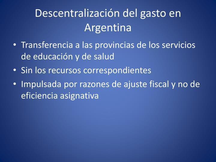 Descentralización del gasto en Argentina